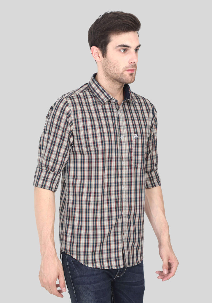 Grey Checks Shirt for Men (GBFRML1013) - GOOSEBERY