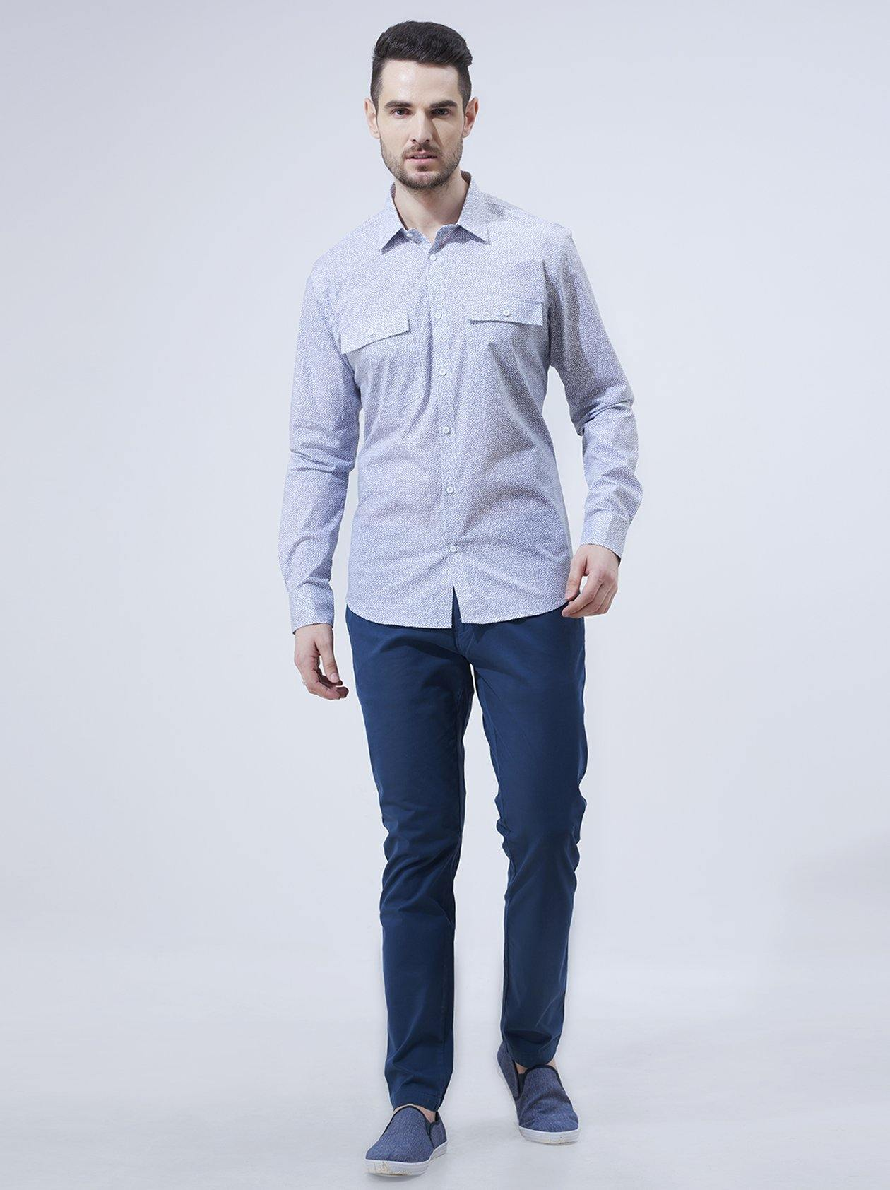 Mens White Printed Casual Shirt