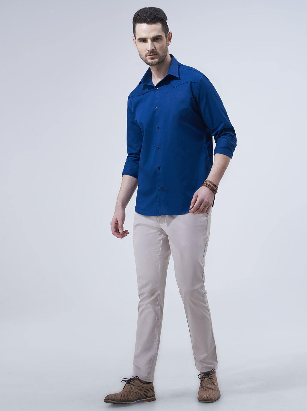 Bottle Blue Shirt for Men