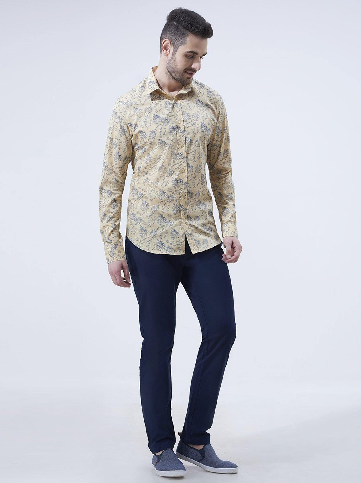 Lemon Yellow Printed Mens Shirt(GBN6018) - GOOSEBERY