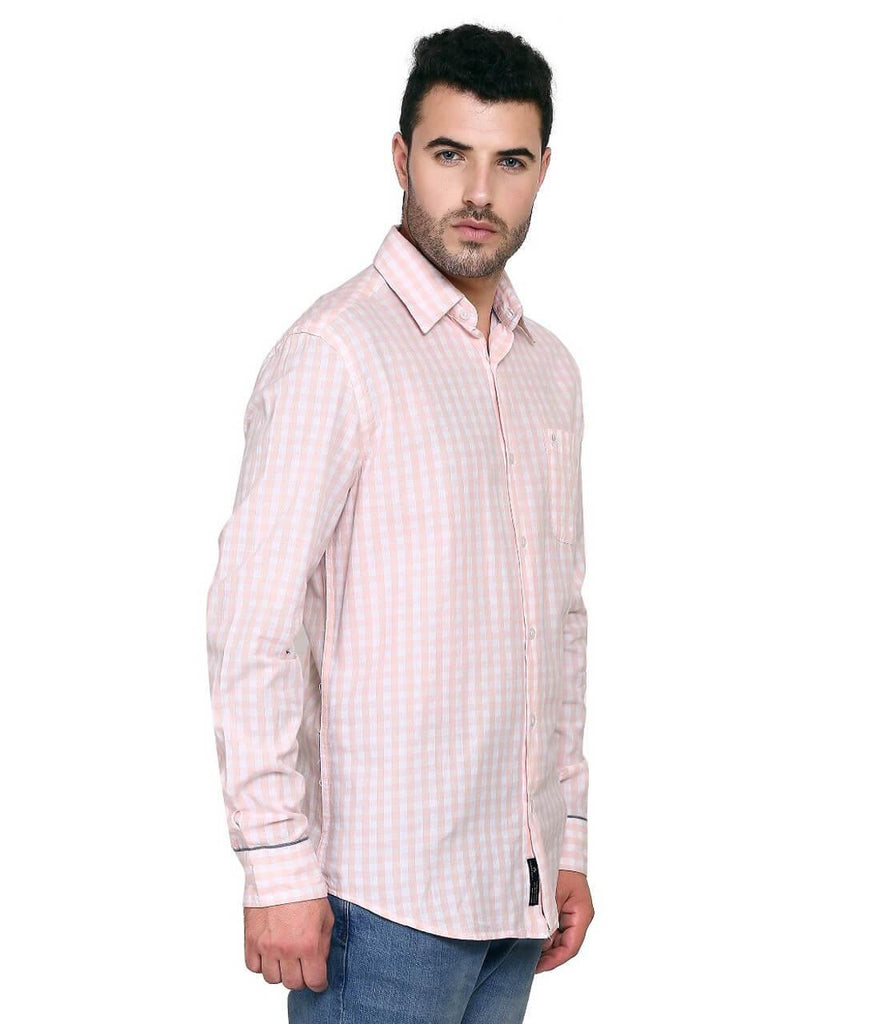Pink and White Checks Shirt for Men (HAINE 22) - GOOSEBERY