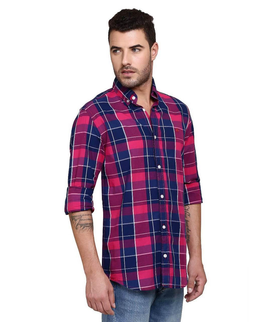 Pink and Blue Bold Checks Shirt for Men (HAINE 37) - GOOSEBERY