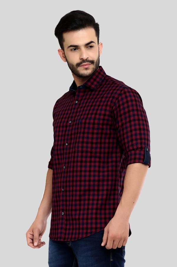 Meroon Checks Shirt for Men (HAINE 104) - GOOSEBERY
