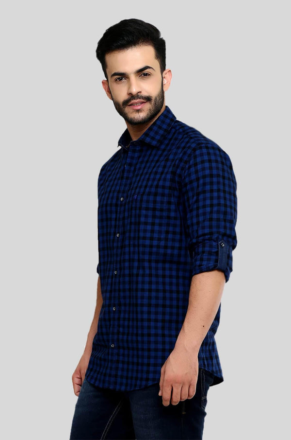 Blue Checks Shirt for Men (HAINE 105) - GOOSEBERY