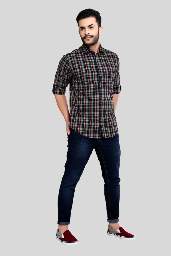 Green Checks Shirt for Men (HAINE 109) - GOOSEBERY