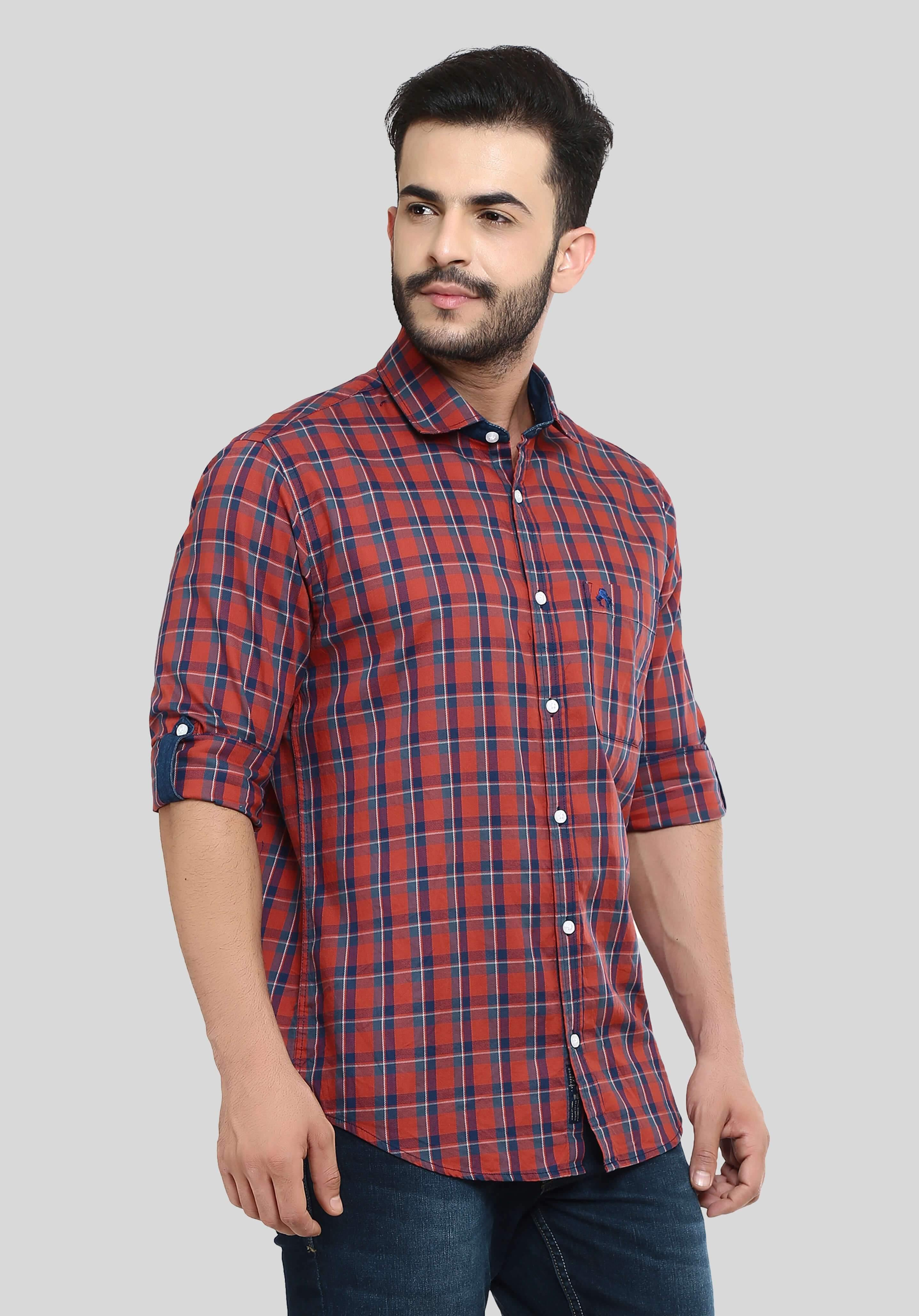 Red Checks Shirt for Men (HAINE 111) - GOOSEBERY