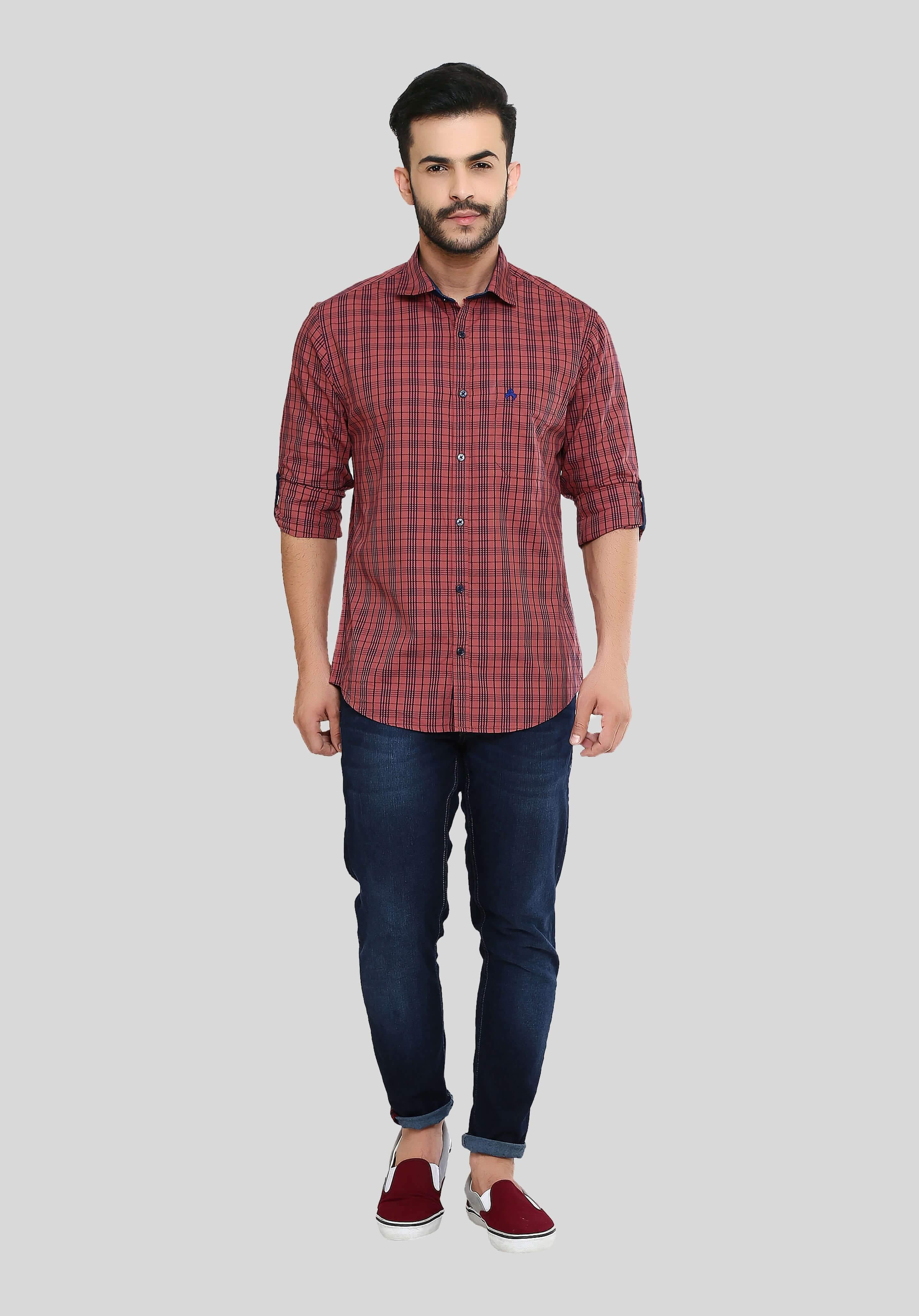 Pink Checks Shirt for Men (HAINE 112) - GOOSEBERY