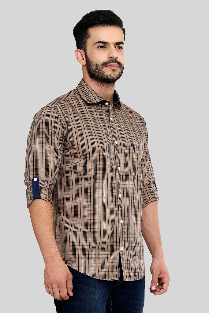 Brown Checks Shirt for Men (HAINE 113) - GOOSEBERY