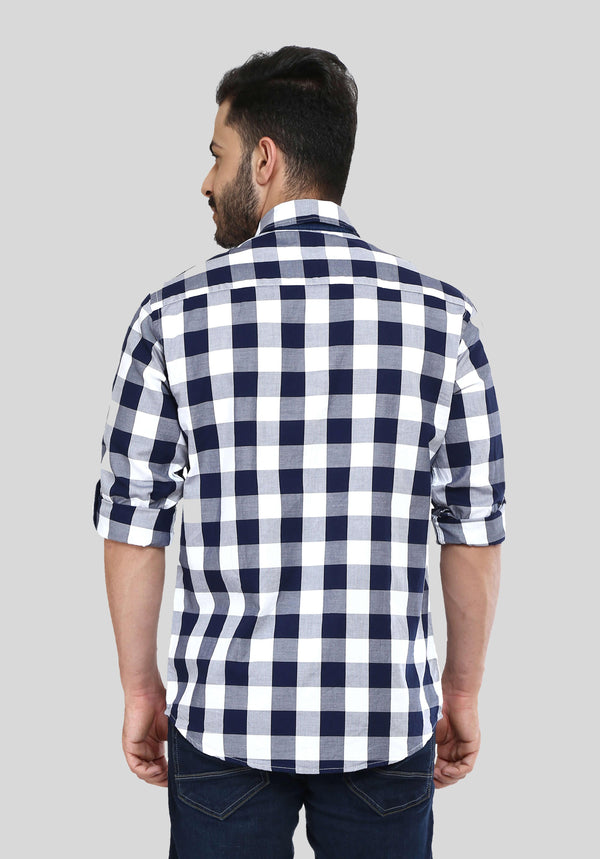 Blue Bold Checks Shirt for Men (HAINE 119) - GOOSEBERY