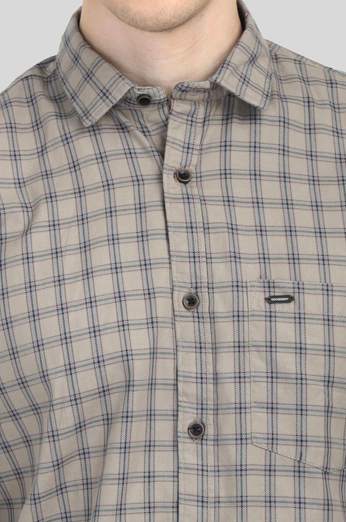 Brown Checks Shirt for Men (HAINE 2202) - GOOSEBERY