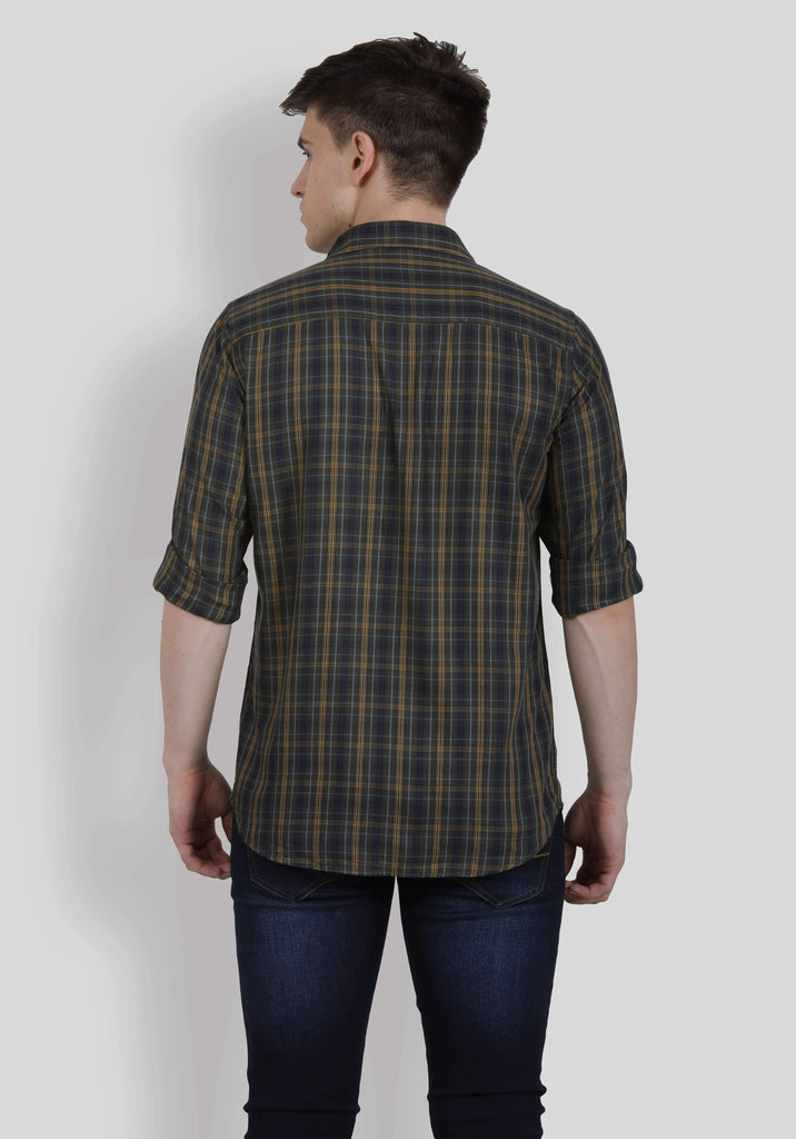 Black and Brown Checks Shirt for Men (HAINE 5002) - GOOSEBERY