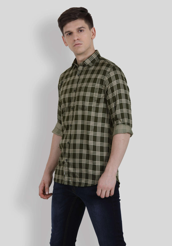 Olive Green Checks Shirt for Men (HAINE 5003) - GOOSEBERY