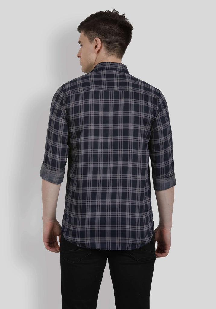 Grey Checks Shirt for Men (HAINE 5005) - GOOSEBERY
