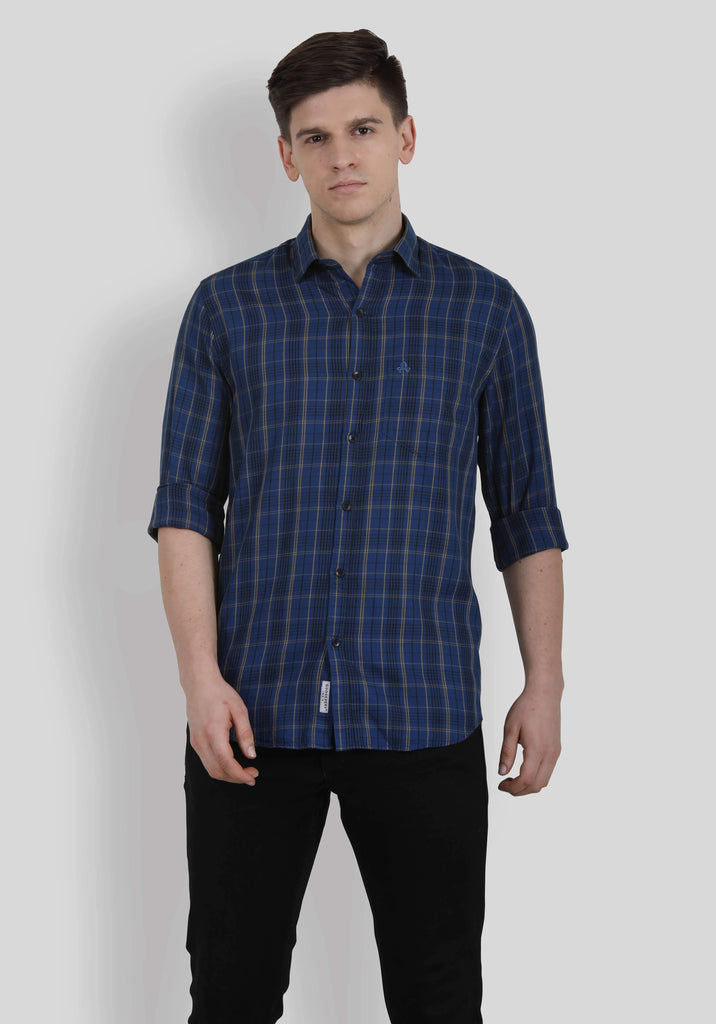 Blue Checks Shirt for Men (HAINE 5010) - GOOSEBERY