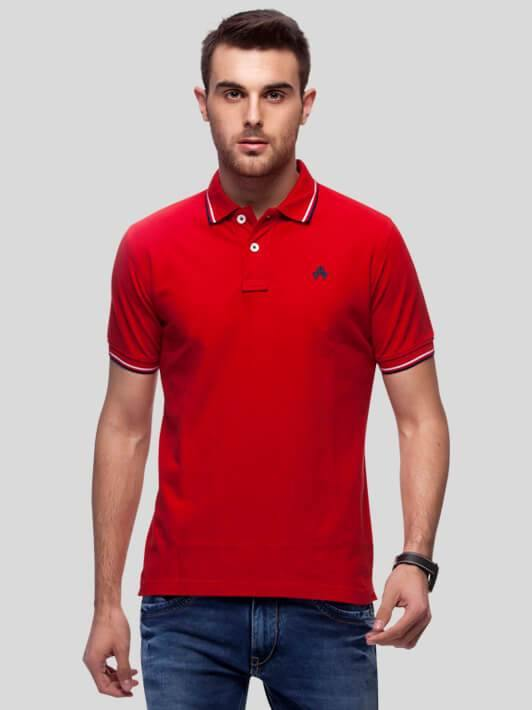 Red Polo T-Shirt for Men (RIBES RED) - GOOSEBERY