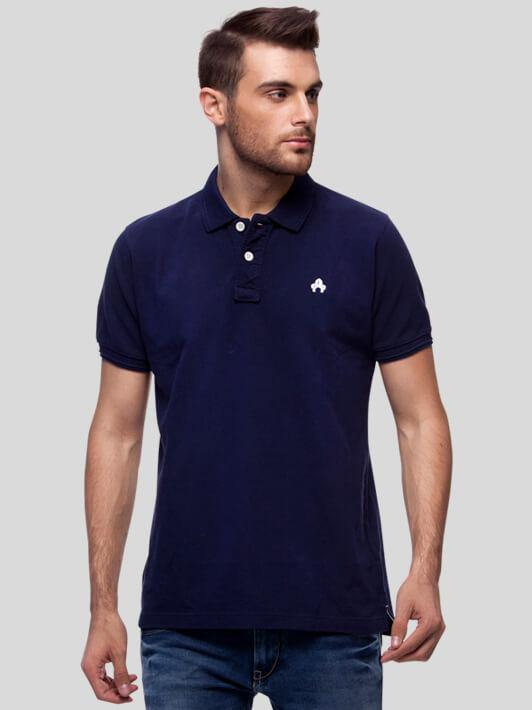 Navy Blue Polo T-Shirt for Men (GROSELLA NAVY BLUE) - GOOSEBERY