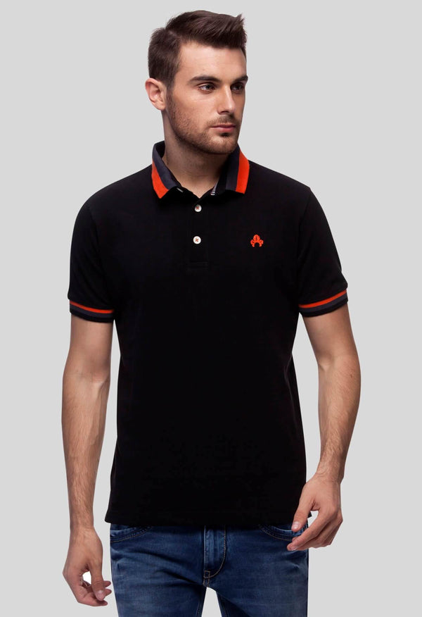 Mens Polo T-Shirt Black (ANGREST) - GOOSEBERY