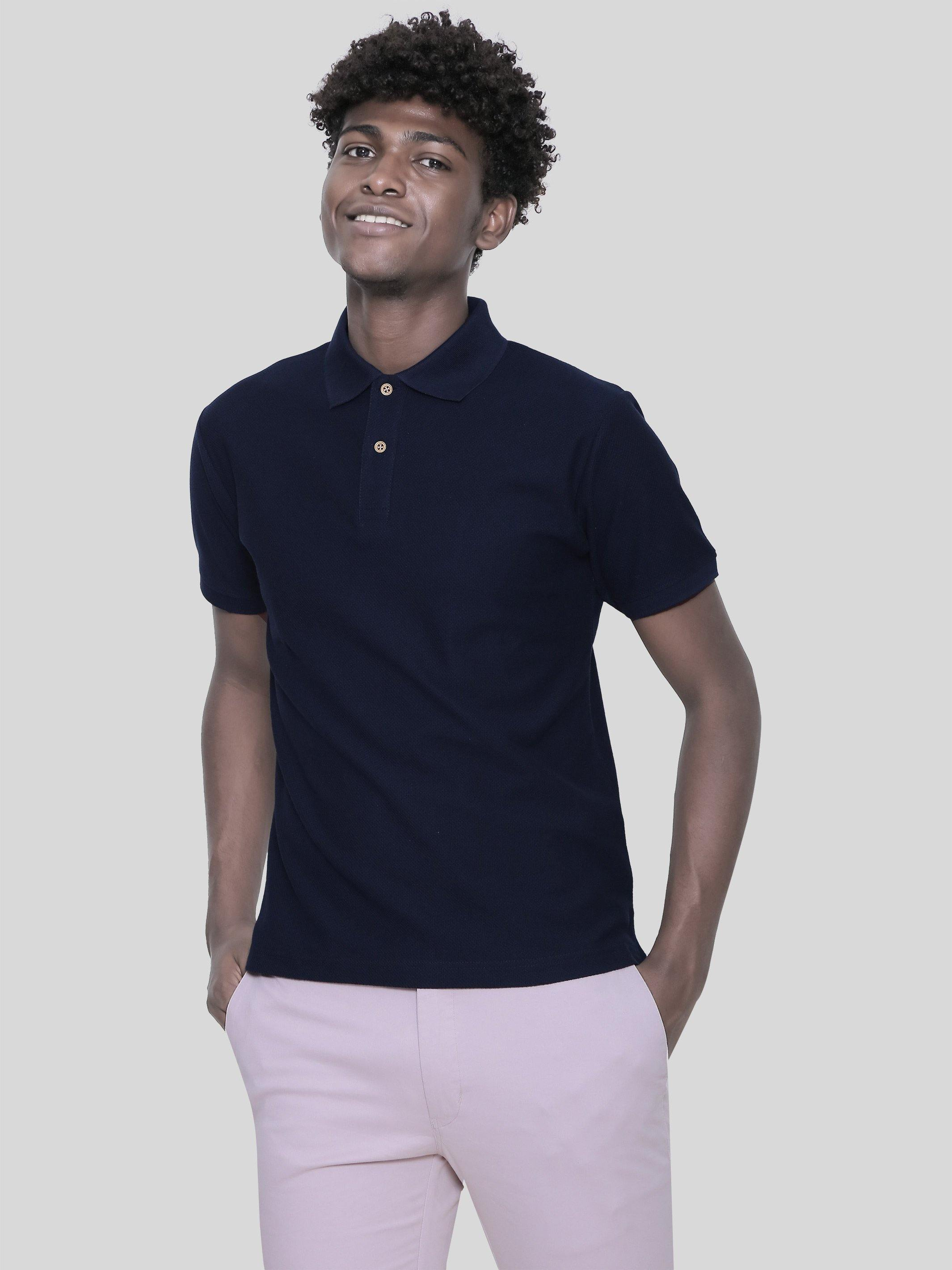 Pima Cotton Navy Blue Polo T-Shirt for Men (GBN22) - GOOSEBERY
