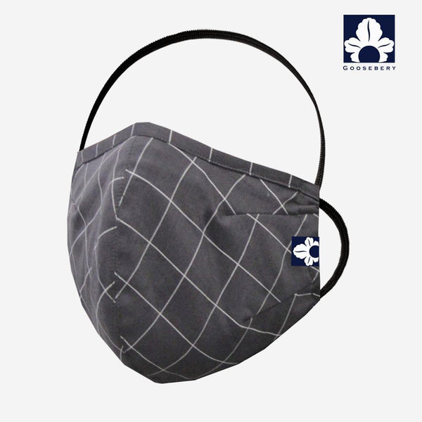 Grey Check Face Mask - GOOSEBERY