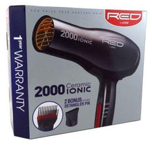 Load image into Gallery viewer, Red by Kiss 2000 Ceramic Ionic Hair Blow Dryer 2 Bonus Detangler Pik included Professional 3 Setting Heat Speed