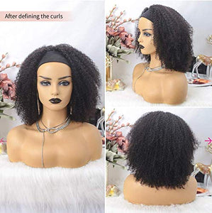 Afro Kinky Curly Headband Human Hair Wigs for Black Women Glueless None Lace Front Wigs Headband Half Wig Human Hair 150% Density Brizilian Virgin Hair Machine Made Headband Wig Human Hair 12Inch