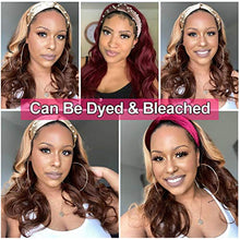 "Load image into Gallery viewer, Human Hair Headband Wig Body Wave Human Hair Wigs for Black Women Brazilian Virgin Hair Glueless None Lace Front Wigs 150% Density (12"" Headband wigs)"