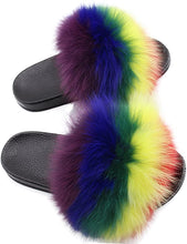 Load image into Gallery viewer, Xunxun Women Real Fox Fur Feather Vegan Leather Open Toe Single Strap Slip On Sandals