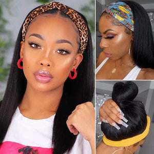Headband Wigs for Black Women Human Hair None Lace Front Wigs Straight 9A Brizilian Virgin Glueless Human Hair Wigs Straight Hair Machine Made Headband Half Wig Human Hair 14""