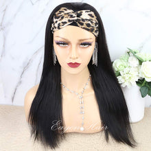 Load image into Gallery viewer, Headband Wigs for Black Women Human Hair None Lace Front Wigs Straight 9A Brizilian Virgin Glueless Human Hair Wigs Straight Hair Machine Made Headband Half Wig Human Hair 14""