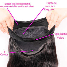 Load image into Gallery viewer, ZILING Headband Wig Human Hair For Black Women, Glueless None Lace Front Wig With Headband Attached, Body Wave Ice Silk Headband Half Wig For Beginners, 10 Seconds To Wear (16 inch, Body wave)