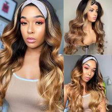 Load image into Gallery viewer, Body Wave Headband Wigs None Lace Front Wigs Human Hair Ombre 1B/4/27