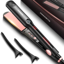 Load image into Gallery viewer, Hair Straightener Flat Iron, 2 in 1 Straightener and Curler, JOMARTO Hair Straightening Iron with Ceramic Plate, LCD Display and Adjustable Temperature, Heats Up Fast, Suitable for All Hair Types