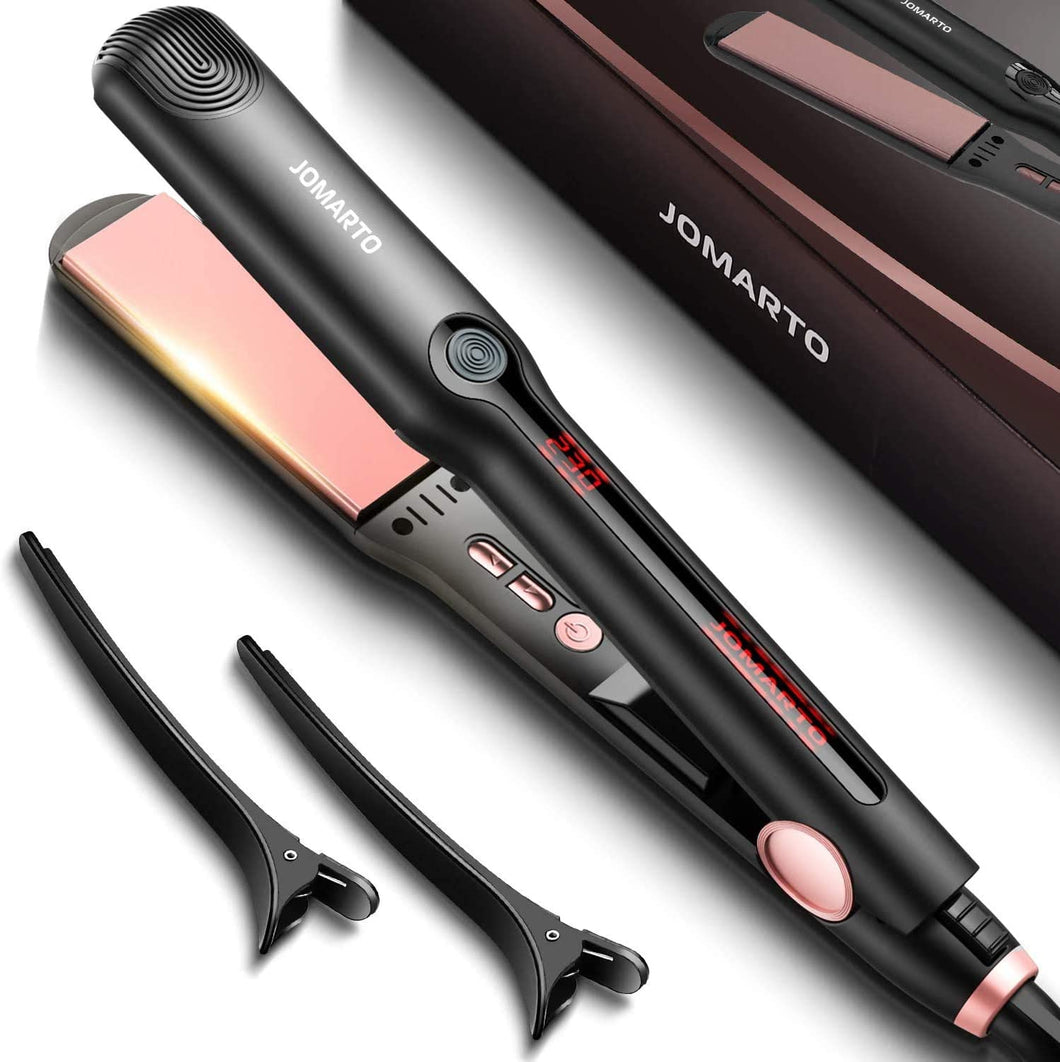 Hair Straightener Flat Iron, 2 in 1 Straightener and Curler, JOMARTO Hair Straightening Iron with Ceramic Plate, LCD Display and Adjustable Temperature, Heats Up Fast, Suitable for All Hair Types