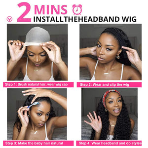 Headband Wigs Straight Human Hair Wig with Headband Attached for Women Glueless Easy to Wear 150% Density Brazilian Virgin Human Hair Full Machine Made Wig None Lace Front Wigs Natural Color 16 inch
