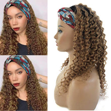 Load image into Gallery viewer, Ombre Blonde Deep Wave Machine Made Human Hair Wigs with Pre-attached Scarf Glueless Non Lace Front Loose Curly Wig 100% Headband Wig for Women 16 Inch 150% Density #1b/27