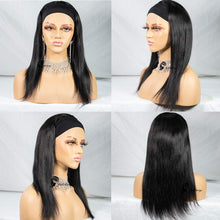 Load image into Gallery viewer, Straight Human Hair Wigs Glueless None Lace Front Wigs Brizilian Virgin Hair Machine Made Headband Wig for Black Women 150% Density 14 Inch