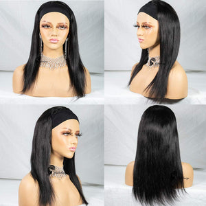 Straight Human Hair Wigs Glueless None Lace Front Wigs Brizilian Virgin Hair Machine Made Headband Wig for Black Women 150% Density 14 Inch