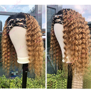 Ombre Blonde Deep Wave Machine Made Human Hair Wigs with Pre-attached Scarf Glueless Non Lace Front Loose Curly Wig 100% Headband Wig for Women 16 Inch 150% Density #1b/27