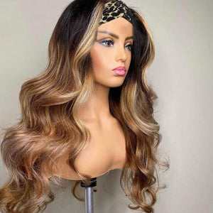 Body Wave Headband Wigs None Lace Front Wigs Human Hair Ombre 1B/4/27