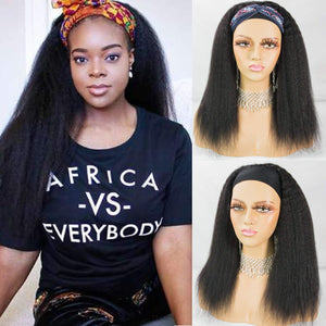 Kinky Straight Headband Wigs Italian Yaki Human Hair Wig for Black Women Easy to Wear Wig with Black Headband 150 Density #NC 12inches