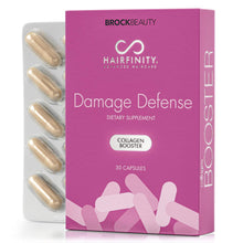 Load image into Gallery viewer, Hairfinity Damage Defense Collagen Booster Hair Supplement for Weak, Brittle Hair - Infusion of Collagen to Support Healthy Hair Growth - 30 capsules (1 month supply)