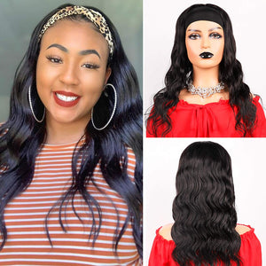 ZILING Headband Wig Human Hair For Black Women, Glueless None Lace Front Wig With Headband Attached, Body Wave Ice Silk Headband Half Wig For Beginners, 10 Seconds To Wear (16 inch, Body wave)