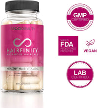 Load image into Gallery viewer, Hairfinity Hair Vitamins - Scientifically Formulated with Biotin, Amino Acids, and a Vitamin Supplement That Helps Support Hair Growth - Vegan - 120 Veggie Capsules (2 Month Supply)