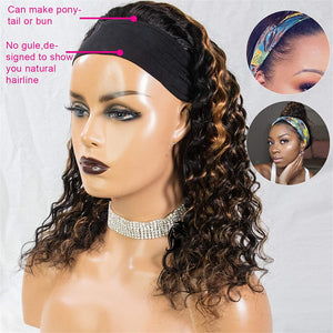 1B/30 Ombre Headband Wig Human Hair Blonde Highlight None Lace Front Wigs Deep Loose Wave Human Hair Wigs for Black Women 150% Density 14 inch