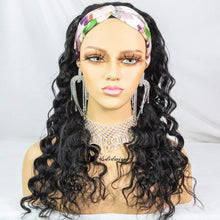 Load image into Gallery viewer, Headband Human Hair Wig Loose Wave None Lace Front Wigs Glueless Brizilian Virgin Hair Machine Made Headband Wig for Black Women 150% Density 14Inch
