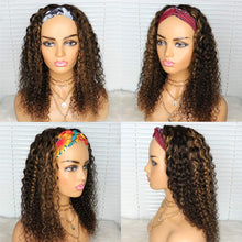 Load image into Gallery viewer, Curly Headband Wigs for Black Women Deep Wave Human Hair Wigs Headband Attached Balayage 1B/30 Black with Auburn Highlights Natural Hair None Lace Front Wigs Brazilian Virgin Human Hair Wig 22 Inch