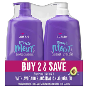 Aussie Miracle Moist Shampoo & Aussie Miracle Moist Conditioner, 2-pack, 26.2 Fl. Oz ea.