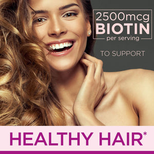 Hair, Skin, and Nails with Biotin by Nature's Bounty Optimal Solutions, Multivitamin Supplement, Strawberry Gummies, 2500 mcg, 140 Count
