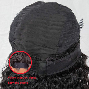 Headband Wig Human Hair Water Wave Human Hair Wigs for Black Women Glueless None Lace Front Wigs 150% Density 14inch