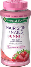 Load image into Gallery viewer, Hair, Skin, and Nails with Biotin by Nature's Bounty Optimal Solutions, Multivitamin Supplement, Strawberry Gummies, 2500 mcg, 140 Count